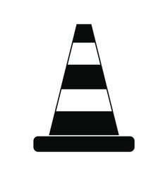 Cone traffic black simple icon vector image