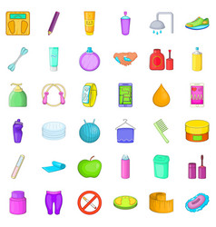 Cosmetic salon icons set cartoon style vector