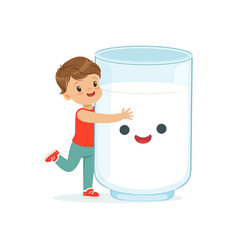 cute little boy and funny milk glass with smiling vector image vector image