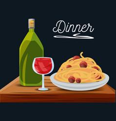 Delicious spaghetti with wine menu restaurant vector