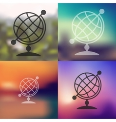 Globe icon on blurred background vector