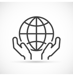 Hands holding globe icon vector image vector image