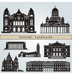 Helsinki landmarks and monuments vector image