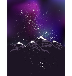 Milky way over the himalayan peaks mountains at vector