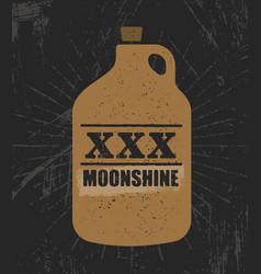 moonshine jug pure original corn spirit creative vector image vector image