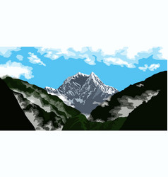 Mountain peak landscape vector