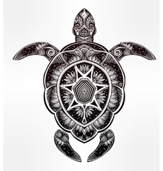 Ornate turtle in tattoo style vector image vector image