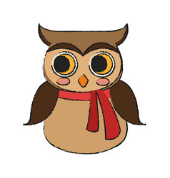 Owl with scarf icon vector