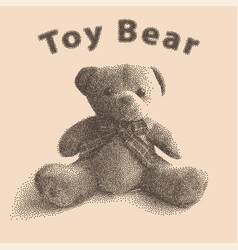 Plush toy teddy bear in old style of dots vector