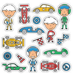 racing stickers set vector image vector image