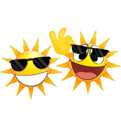 Smiling sun Emoticon holding a glasses vector image vector image
