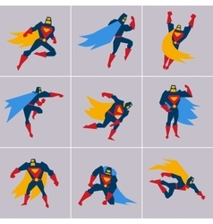 Superhero in Action Silhouette Different Poses vector image vector image