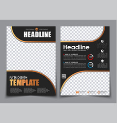 Template 2 a4 pages in black with bronze elements vector
