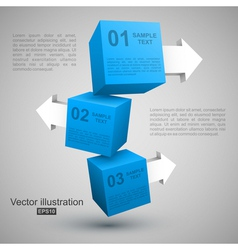 Three blue boxes with arrows 3D vector image