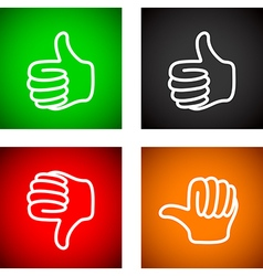 Thumbs up and down set vector