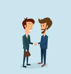 two businessmen shake hands partnership vector image
