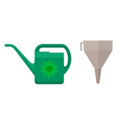 Watering can and funnel vector