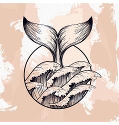 Whale tail in sea waves boho blackwork tattoo vector