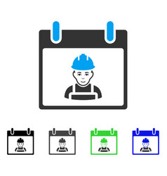 Worker calendar day flat icon vector