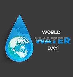 world water day black background greeting card vector image