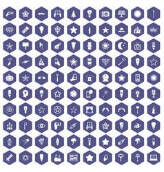 100 light icons hexagon purple vector