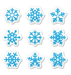 Christmas snowflakes icons set vector image