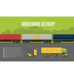 Worldwide delivery banner with cargo train vector