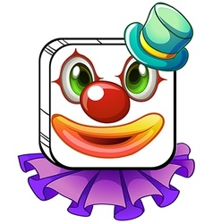 A square-shaped face of a clown with a violet vector image