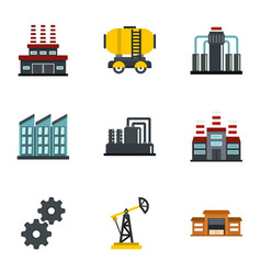Oil extraction transportation icons set flat style vector