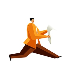 Side view of man running with newspaper vector