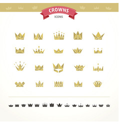 set of geometric vintage crown vector image
