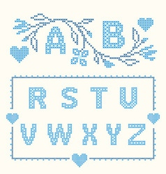 Design elements for cross-stitch embroidery vector