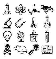 Chemistry and science black icon set vector