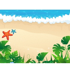 Tropical beach with tropical vegetation vector