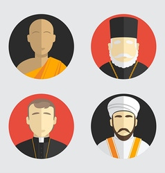 People portraits avatar religion flat design vector