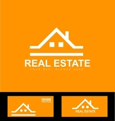 Orange real estate company logo icon vector