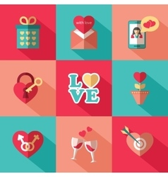 Set of flat valentines day icons vector