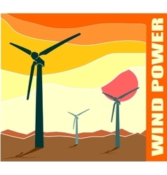 Wind turbine landscape  wind energy vector