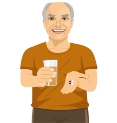 Elderly man holding glass of water taking pills vector