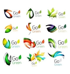 Green nature leaf concept icon set vector