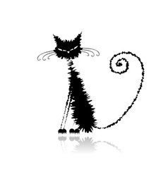 Black wet cat vector