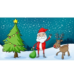 a reindeer and santaclause vector image