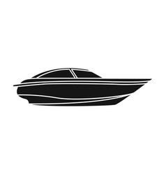 a small white boat with a motorboat for speed and vector image