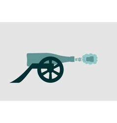 Ancient wine bottle cannon shoot vector