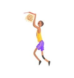 Basketball player hanging on goal action sticker vector