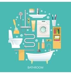 Bathroom Round Composition vector image