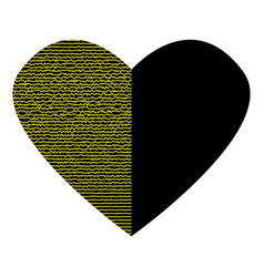 Black heart with gold lines sign 3112 vector