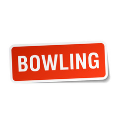 Bowling square sticker on white vector
