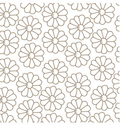 brown silhouette pattern with daisy flowers vector image