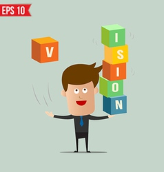 Business man throw business box stacking - - vector